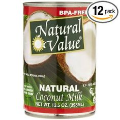 Natural Value Coconut Milk, 13.5-Ounce Containers (Pack of 12)  gluten-free/BPA-free/guar fum-free