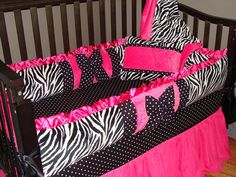 Baby Bedding Crib Set Hot Pink and Zebra Minky Blanket, Bumper, Sheet, and Skirt on Etsy, $295.95