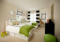 Love the color combination.. not sure about white bedding for kids, but in a guest room? :)