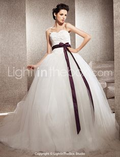$244.99 Tulle Ball Gown Sweetheart Chapel Train Wedding Dress inspired by Kate Huds in Bride Wars- http://zzkko.com/book/shopping?note=11614