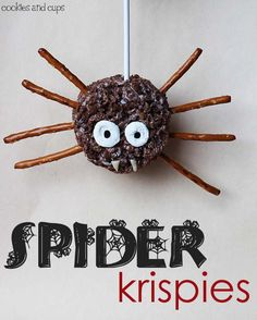 Homemade Spider Rice Krispie Treat #Homemade #Halloween #RiceKrispies #RiceKrispieTreats #Spiders #Snacks #KidFoods