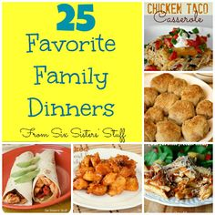 "There are lots of winning dinners in this Pin.  If you haven't already, check out SixSistersStuff Family Dinner Ideas board.  Lots of fantastic ""GoTo"" dinners that even your kids will eat."