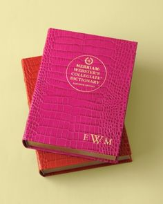 Add a gold-stamped monogram to your  Merriam-Webster's desk dictionary for an elegant personal touch