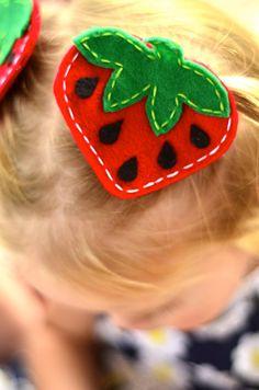 Felt Strawberry hair clip