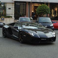 Black Lamborghini Aventador in Monaco