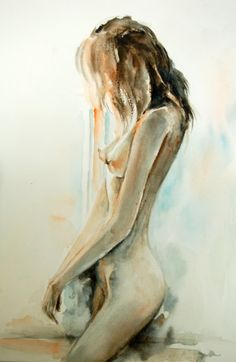 Woman Figure Nude Original Watercolor Painting Woman by CanotStop, $120.00