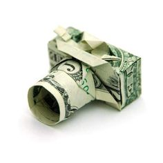 Origami camera from one dollar bill