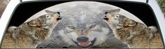 Wolves Howling at the Moon Truck Rear Window Mural Decal sized for your rear window. Order yours today at www.CarCareColorado.com