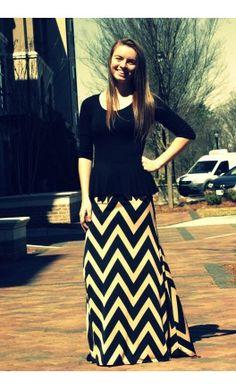 Flared Chevron Maxi Skirt