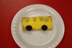 Lots of yellow school bus crafts & this cute school bus cracker snack for kids