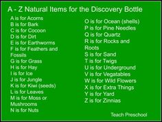 A-Z Nature Items for Discovery by Teach Preschool