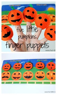 """Make cute felt finger puppets to use with the poem """"Five Little Pumpkins"""" this Halloween!"""