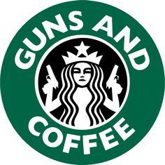 "Guns and Coffee Starbucks Bumper Sticker Pro Guns Car Decal 5"" X 5"". $3.99, via Etsy."
