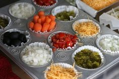 Muffin pan to hold toppings... great idea!