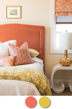 Coral and Yellow brighten up bedroom warm colors, color schemes, color combos, bedroom colours, new bedroom, coral and yellow bedroom, colors for the bedroom, bedroom colors, dining room colors