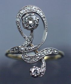 ART NOUVEAU  Ring  Gold Diamond