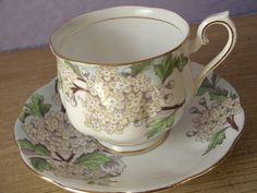 Royal Albert tea cup and saucer, vintage 1940's, Hawthorn, flower of the month, yellow white flower, english fine  bone china