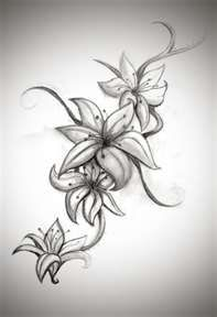 lily tattoo - I really like the black, gray details. Stargazers are my favorite flower.