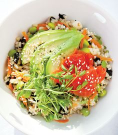 Sushi Bowls... One of my favorite things to make at home! I like to add dried wasabi peas for a little crunch an kick! :)