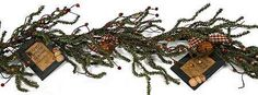 Primitive Pine, Berries, & Picture Frame Garland