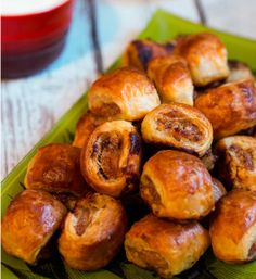Spicy Sausage Rolls - Pastry dough is filled with a sausage mixture to make this easy appetizer recipe!