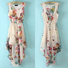 Floral summer dress. I love it, but wish it wasn't high low..