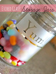 How to make etched glass storage jars - brilliant!