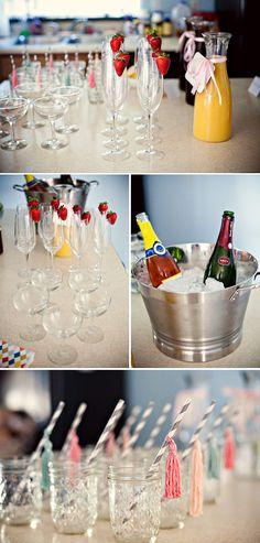 Beauties & Babies Party bridesmaid brunch, baby parties, straw, drink, birthday brunch, mimosa bar, mason jars, parti idea, bridal showers