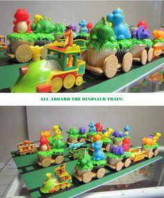 Dinosaur Train Cupcake Train. My good friend Kristin made this for her son's 3rd birthday!  Amazing!!