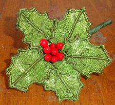 Pam's Embroidered 3D Mylar Holly