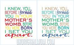 Jeremiah 1:5 Free Printable from unOriginalMom.com