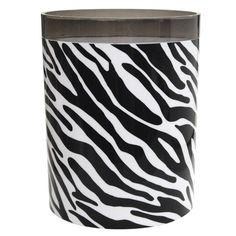 your zone wastebasket, black zebra. $9.44