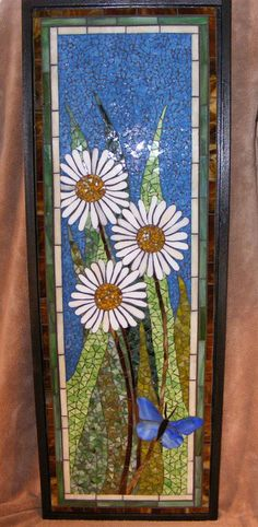 Think Spring!  30x15 inches  Stained Glass, Tempered Glass  ©  2012 Annie Thomas-Burke