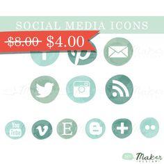 Seafoam Ombre Social Media Icon Set