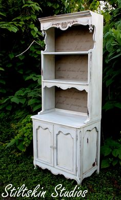 Stiltskin Studios: Pantry Hutch with Springtime in Paris french poem stencil.