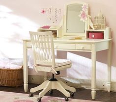 Madeline Writing Desk with Vanity Mirror Topper  #potterybarnkids