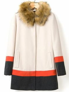 { White Faux Fur Collar Long Sleeve Woolen Coat }