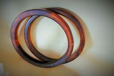 Pair vintage root beer slice bakelite bangle bracelets ~ $65