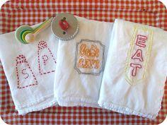 Vintage embroidery flour sacks by sewtakeahike, via Flickr