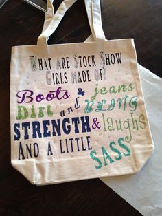 Stock Show Girl Canvas Bag by TheBigRedBarn2010 on Etsy