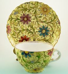 Hand Painted Cup & Saucer, Vibrant Florals, Gilding, Enamel Jewel Accents, ca. 1900.