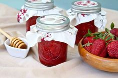 Strawberry Honey Jam - no sugar, just honey.