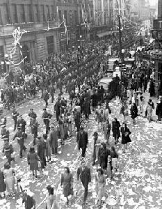 V-E (Victory in Europe) Day was celebrated all across Canada, as in Ottawa shown here on 8 May 1945 (courtesy Library and Archives Canada/PA-114440)