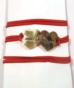 Love this Gold & Red Double Heart Personalized Bracelet by Courtenay J Designs $12.99 #personalized #jewelry #love #bracelet