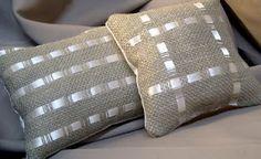 Burlap and Ribbon Pillows