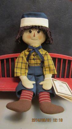 "15""Primitive folk art cloth doll- Gail Wilson Designs Raggedy Andy Doll Series"