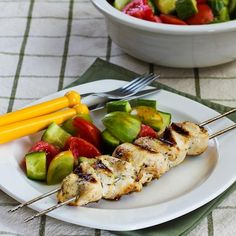 Chicken Souvlaki is a grilling classic that's perfect for #LowCarb eaters! [from Kalyn's Kitchen] #GlutenFree #Paleo #SouthBeachDiet #Grilling