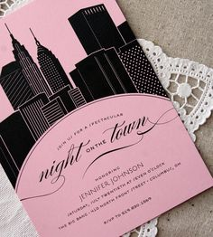 'A night on the town' Invitation demonstrating the theme of the party, use of bold print
