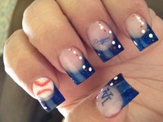 Baseball nails - would be super cute as the Indians