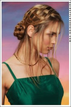 Love the loose weaving of the 5 strand braid going into a bun...